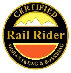 Certified Rail Rider Personal Achievement Award Pin.  Links medium radius turns, getting the board on edge the last 1/3 of the turn on groomed blue slopes.
