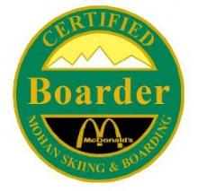 Certified Boarder Personal Achievement Award Pin.  Rides chairlift.  Is able to perform heel and toe side turns down smooth green slopes.