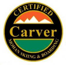 Certified Carver Personal Achievement Award Pin.  Links at least four turns on groomed slopes where the end of one carved turn and the start of the new carved turn in less than six feet.