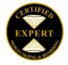 Certified Expert Personal Achievement Award Pin.  Flows gracefully with smooth transitions between three short-, three medium- and three short medium-carved turns.