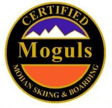 Certified Moguls Personal Achievement Award Pin.  Links ten or more short radius turns in knee high moguls showing efficiency and moderately quick consistent speed.