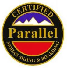 Certified Parallel Personal Achievement Award Pin.  Links series of parallel turns on groomed blue slopes.