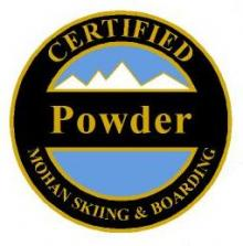 Certified Powder Personal Achievement Award Pin.  Links seven or more medium radius fluid turns in over boot-top snow with moderately quick, consistent speed.