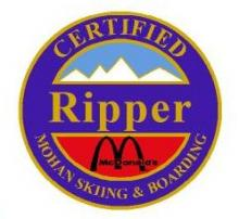 Certified Ripper Personal Achievement Award Pin.  Links heel and toe side medium radius turns on green slopes.