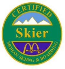 Certified Skier Personal Achievement Award Pin.  Rides Chair Lift. Is able to perform linked wedge turns down smooth green slopes safely.