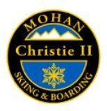 Mohan Christie II Personal Achievement Award Pin.  Links Christie II turns (bringing skis parallel at or before fall line) on blue slopes.  Uses turn radius to control speed and direction.