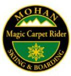 Mohan Magic Carpet Rider Personal Achievement Award Pin.  Rides Magic Carpet.  Negotiates safely down the slope.