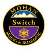 Mohan Switch Personal Achievement Award Pin.  From fall line in switch (backward) stance, link four medium radius turns and return to normal stance.